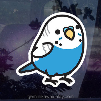 Chubby Parakeet Sticker - Blue