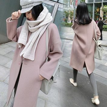 Winter Coat Girls Long Loose Pink Camel Wool Woolen Korea