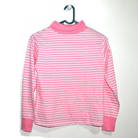 Pink White Striped Turtleneck Sweater Womens Cute Cotton Pullover Extra Small XS S
