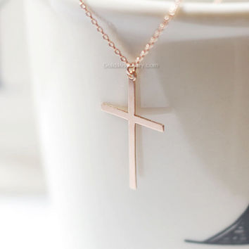 skinny Rose Gold Cross necklace/ Rose Gold Filled Cross Necklace / Perfect Layering Necklace/ Choose your length