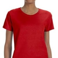 Gildan Ladies Heavy Missy Fit Crewneck T-Shirt, RED, Small