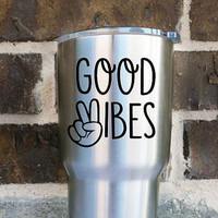 Good Vibes Decal Sticker - Peace - Hippie Decal - Vinyl - Yeti Decal - Car Decal - Jeep Decal - Any Size - Any Color - Good Vibes Only