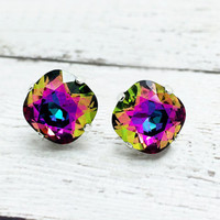 Large Rainbow Sparkle Swarovski Crystal Post Earrings