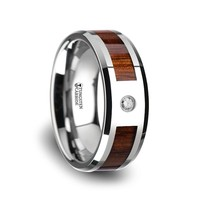 Hawaiian Acacia Koa Wood Tungsten Wedding Anniversary Ring with Diamond