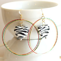 Zebra Heart Large Hoop Earrings in Red, Gold, Green, Black and White - HANDMADE BY ME - perfect fashion accessory