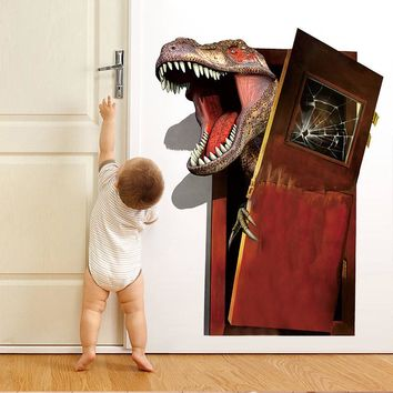 Cartoon Vivid Dinosaur Broken Door Wall Stickers For Kids Rooms Children's Wall Decals Home Decoration Mural Poster