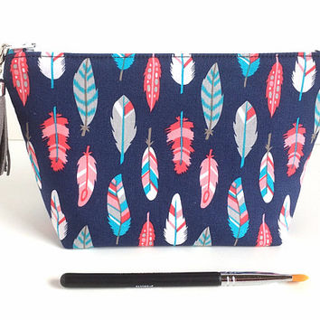 Small Makeup Bag, Feather Makeup Bag, Small Zipper Pouch, Navy Cosmetic Bag