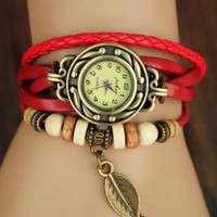 Red Leather Bracelet Watches with Leaf Pendant