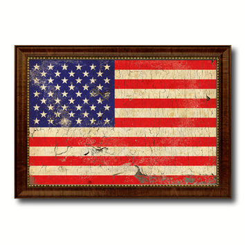 American Flag Vintage United States of America Canvas Print Brown Picture Frame Home Decor Man Cave Wall Art Collectible Decoration Artwork Gifts