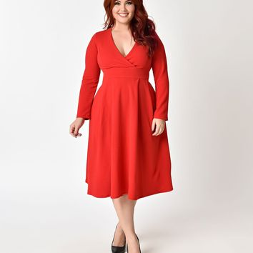 1950s Style Plus Size Red Long Sleeved Swing Dress