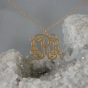 Gold Monogram Necklace - 1.25 inch Personalized Monogram - 925 Sterling silver 18k Gold Plated