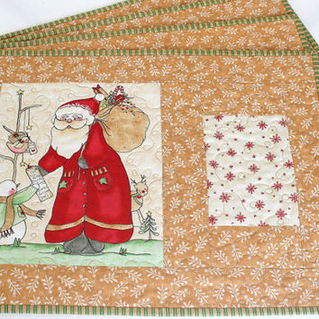 Quilted Christmas Placemats - Whimsical Santa Table Mats - Holiday Table Decor - Here Comes Santa - Set of 4 placemats