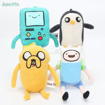 12cm Adventure Time Plush Keychain Toys Finn Jake Penguin Gunter Beemo BMO Soft Stuffed Dolls Pendant Party Supplies Kids Gifts