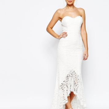 Jarlo Premium Sweetheart All Over Lace Maxi Dress With High Low Hem at asos.com