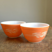Vintage Pyrex Mixing Bowls  Set of 2  Autumn by TheFancyLamb