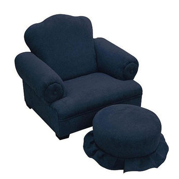 Komfy Kings, Inc 24020 Little Queen Navy Micro Tween Chair and Ottoman