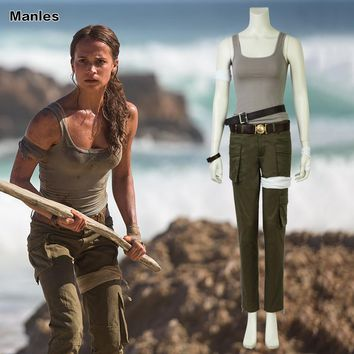 Movie Tomb Raider Cosplay Costume Lara Outfit Halloween Vest Pants Carnival Party Heroine Set Custom Made Adult Women Pants Cuff