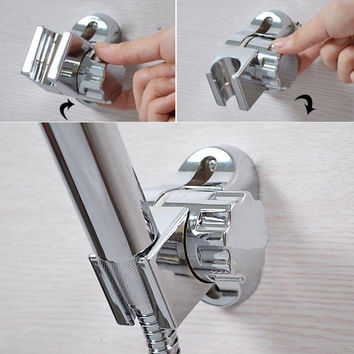 Adjustable Chrome ABS Shower Head Holder Silver Bath Shower Stand Wall Mounted Bracket For Bathroom Accessories