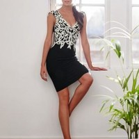 Lipsy Applique Contrasting Black Lace Dress