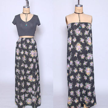 Vintage 80s FLORAL Maxi Skirt BLACK Flower Print Dress Cotton Skirt Never Worn