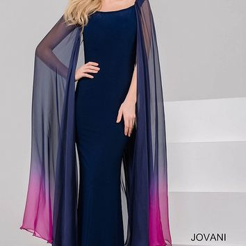 Navy and Fuchsia Jersey Fit Dress with Sheer Overlay 50712