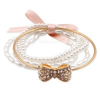 $5.99 Fashion PearlsGold Bow Beaded Strand Bracelet at Online Jewelry Store Gofavor