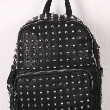 Studded Vegan Leather Crinkled Backpack