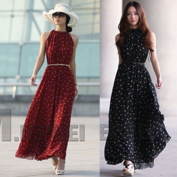Retail Fashion Women's Polka Dots Maxi Long Casual Summer Beach Party Chiffon Dress,Big Size Women Sundress = 1946461444