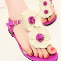 Flower T-strap Leisure Thong Sandals