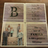 Family Coasters, Waterproof coaster, upcycled coaster set, housewarming gift, upcycled tiles, bar gifts, photo coaster, coaster with picture
