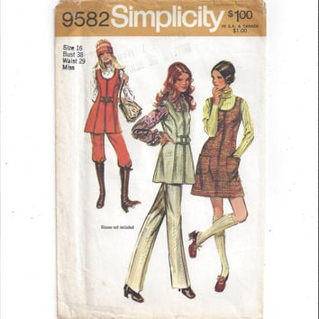 Simplicity 9582 Pattern for Misses' Mini Jumper with Front Zipper, Tunic, Pants, Size 16, From 1971, Vintage Pattern, Home Sewing Pattern