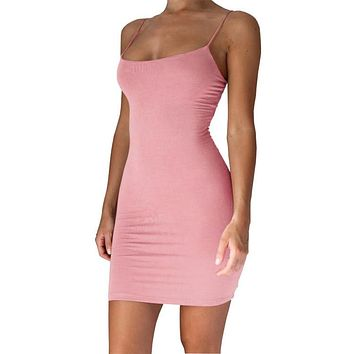 Pure Color Spaghetti Straps Slim Women Bodycon Short Dress