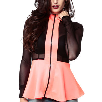 Zip Me Up In Coral Mesh Peplum Jacket
