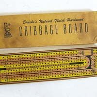 20% OFF SALE vintage Cribbage Game / Vintage Wood Cribbage Board / complete
