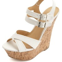 CRISSCROSS ANKLE STRAP PLATFORM WEDGE SANDALS