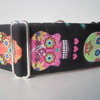 Sugar Skulls Martingale Collar, Day of the Dead Martingale Collar, Calaveras, Skull, Greyhound Collar, Pink Dog Collar
