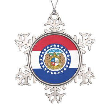 Snowflake Ornament with Missouri Flag
