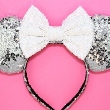 Silver Sequin Ears and White Bow