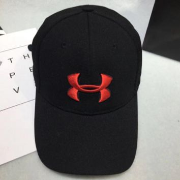 Under armour Women Men Contracted Sport Sunhat Logo Embroidery Baseball Cap Hat Black Red Logo G