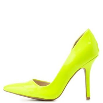 Neon Yellow Neon Patent D'Orsay Pumps by Charlotte Russe