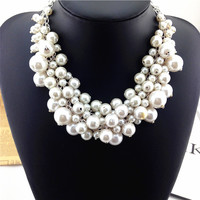 Luxury Vintage Pearl Statement Multi Layer Choker Necklace