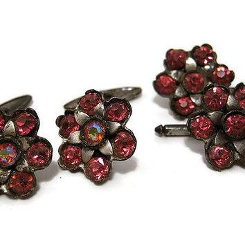 Vintage Pink Rhinestone Cufflinks Shirt Studs Set Bright Flowers Floral Mens Formal Bling Jewelry Chain Cuff Links