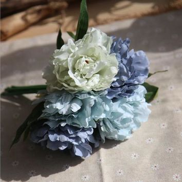 Bouquet Artificial Flowers Silk Peony Bouquet Home Decor