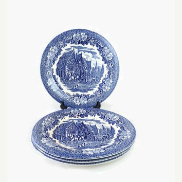 ON SALE - Ironstone Blue & White Plates, Set of 4 Vintage EIT Dickens Series Dinner Dishes, Made in England