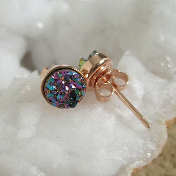 NEW Peacock Druzy Rose Gold Studs Titanium Drusy Quartz Earrings Rose Gold Vermeil Bezel Set