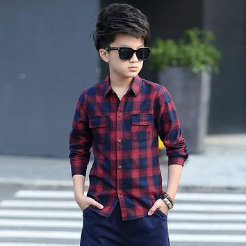 New Kids Fashion Plaid Blouses Boys Cotton Shirts Long Sleeve Children Spring Autumn Clothes