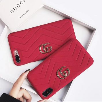 One-nice™ GUCCI Fashion iPhone Phone Cover Case For iphone 6 6s 6plus 6s-plus 7 7plus 8 8plus Red