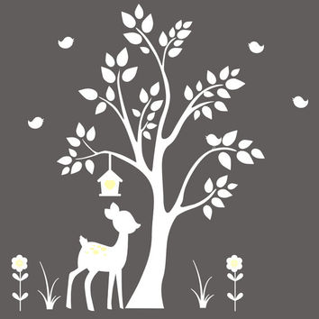 "Forest Wall Decals, Woodland Wall Decals, White Color Style, White Themed Wall Animal Decals, Deer and Tree Wall Sticker - 84"" x 78"""