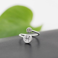 925 Sterling Silver 12 Constellation Ring (Pisces)