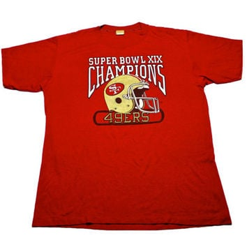 Vintage 1980s 80s 1985 Logo 7 San Francisco Forty Niners 49ers Super Bowl XIX Champions Shirt Mens Sportswear Size Large